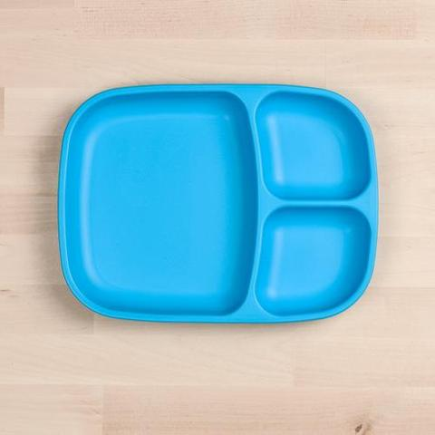 Re-Play Recycled Plastic Divided Plate in Sky Blue - 25cm (Adult Size)
