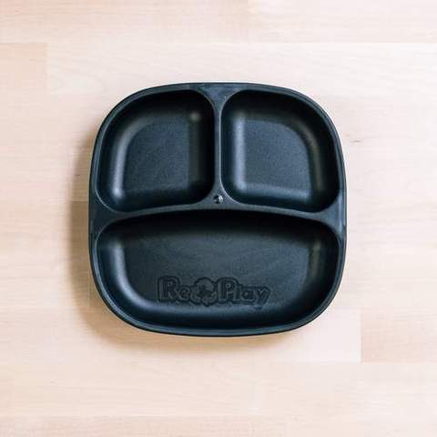 Re-Play Recycled Plastic Divided Plate in Black - 18cm (Original Size)