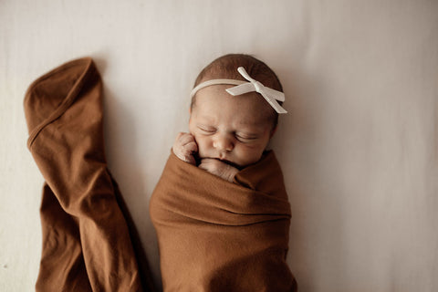 Snuggle Hunny Bronze Cotton Knit Jersey Wrap with Matching Beanie