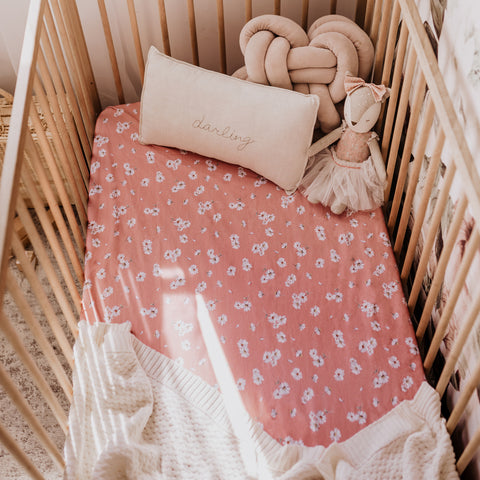 Snuggle Hunny Cotton Fitted Cot Sheet in Daisy Pink