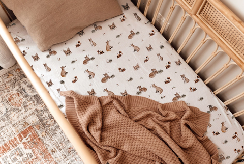 Snuggle Hunny Cotton Fitted Cot Sheet in Fox