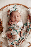 Snuggle Hunny Florence Floral Cotton Knit Jersey Wrap with Matching Topknot