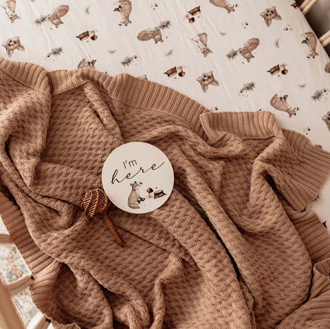 Snuggle Hunny Hazelnut Diamond Knit Baby Blanket