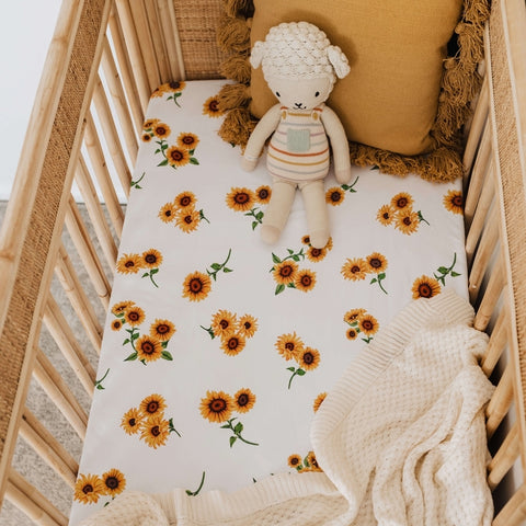 Snuggle Hunny Cotton Fitted Cot Sheet in Sunflower