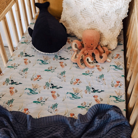 Snuggle Hunny Cotton Fitted Cot Sheet in Whale