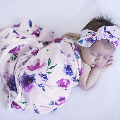 Snuggle Hunny Cotton Knit Jersey Wrap Purple Floral Kiss with Matching Topknot