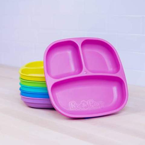 Re-Play Recycled Plastic Divided Plates in Set of Six Sorbet Colours - 18cm (Original Size)