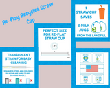 Re-Play Recycled Plastic Straw Cup in Aqua - 296ml