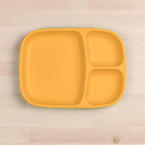 Re-Play Recycled Plastic Divided Plate in Sunshine Yellow - 25cm (Adult Size)