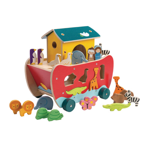 Tender Leaf Toys Wooden Noah's Ark Shape Sorter with Animals