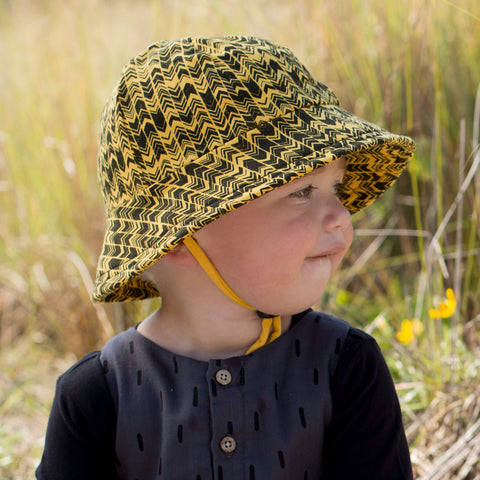 Bedhead Hat Wyatt Mustard & Black Baby & Toddler Bucket UPF50+ Sunhat with Chin Strap - Size 3-6 Months