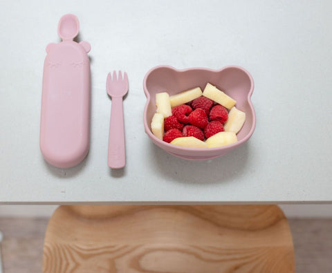 We Might be Tiny Feedie Fork & Spoon Set in Dusty Rose