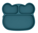 We Might be Tiny Divided Stickie Suction Plate in Blue Dusk (Bear Design)