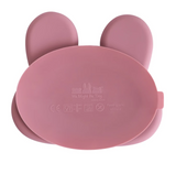 We Might be Tiny Divided Stickie Suction Plate in Dusty Rose Pink (Bunny Design)