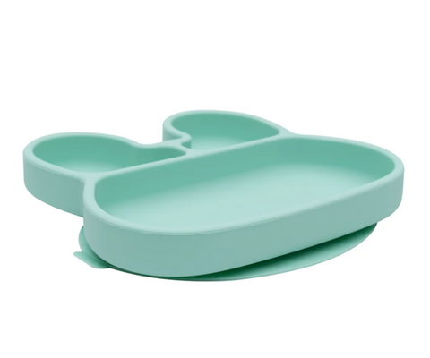 We Might be Tiny Divided Stickie Suction Plate in Mint Green (Bunny Design)