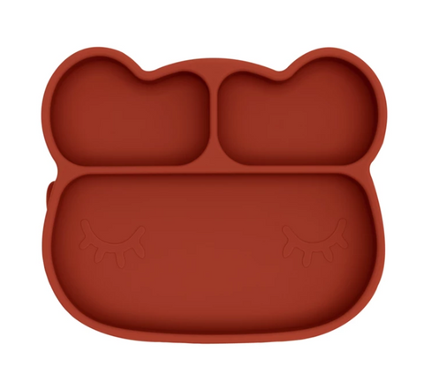 We Might be Tiny Divided Stickie Suction Plate in Rust Brown (Bear Design)