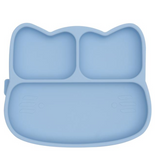 We Might be Tiny Divided Stickie Suction Plate in Powder Baby Blue (Cat Design)