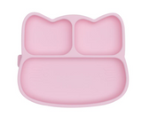We Might be Tiny Divided Stickie Suction Plate in Powder Baby Pink (Cat Design)