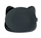 We Might be Tiny Divided Stickie Suction Plate in Charcoal Grey (Cat Design)