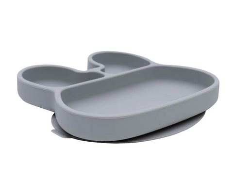 We Might be Tiny Divided Stickie Suction Plate in Dark Grey (Bunny Design)