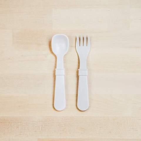 Re-Play Recycled Plastic Fork & Spoon in White