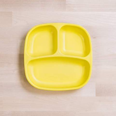 Re-Play Recycled Plastic Divided Plate in Yellow - 18cm (Original Size)