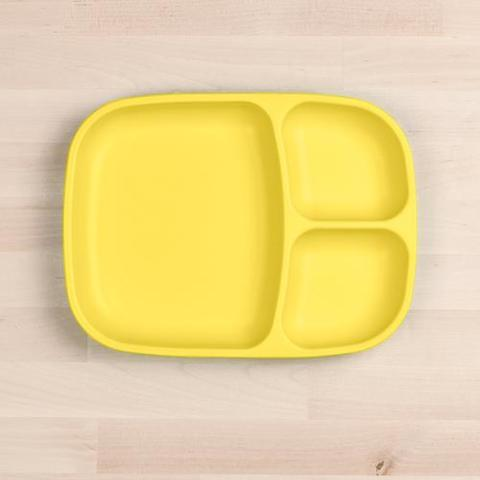 Re-Play Recycled Plastic Divided Plate in Yellow - 25cm (Adult Size)