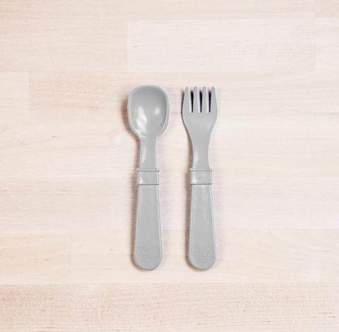 Re-Play Recycled Plastic Fork & Spoon in Grey