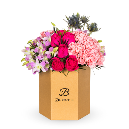 Fuschia Rose & Carnation Flower Box (MD)