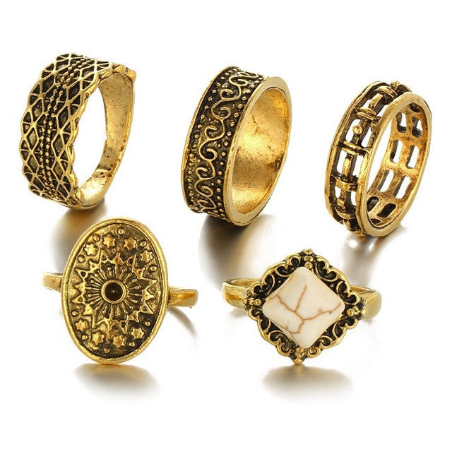 Golden Color Royalty Rings - Ancient Charm - 5 Rings Set - Special Items  watchalliance.store