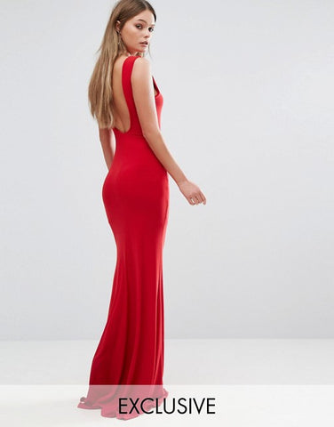 Club L Deep Plunge Back Maxi Dress