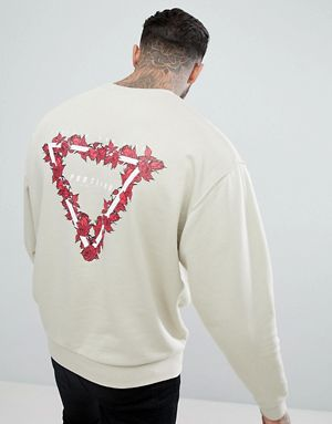 CD Oversized Sweatshirt With Back Rose Triangle Print