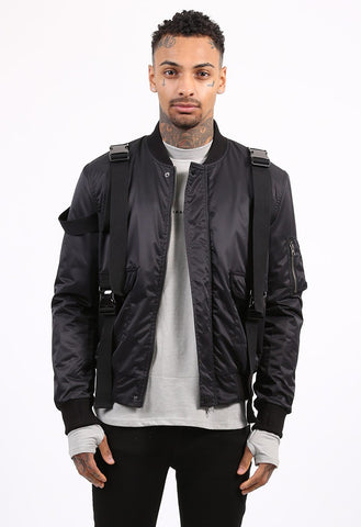 BUCKLE BOMBER JACKET - BLACK