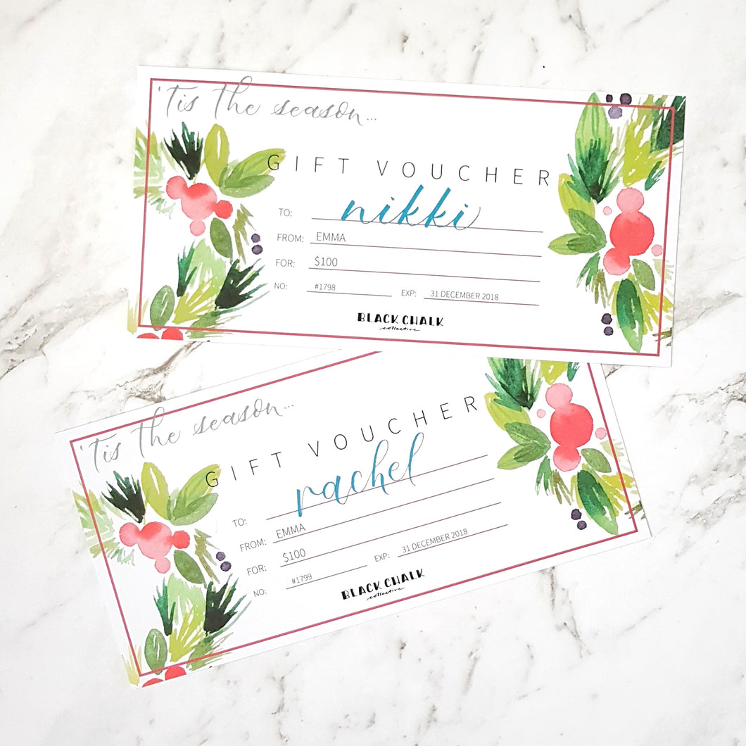 $150 Personalised Gift Voucher - Black Chalk Collective