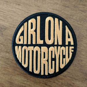 Girl On A Motorcycle Iron On Patch