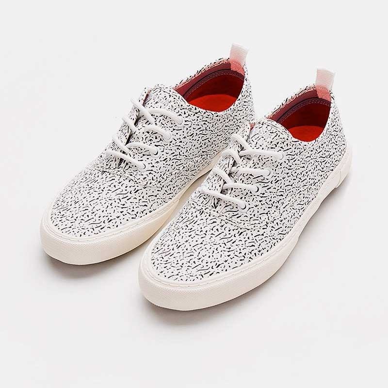 Printed White Low Cut Sneaker - Luigi Sardo