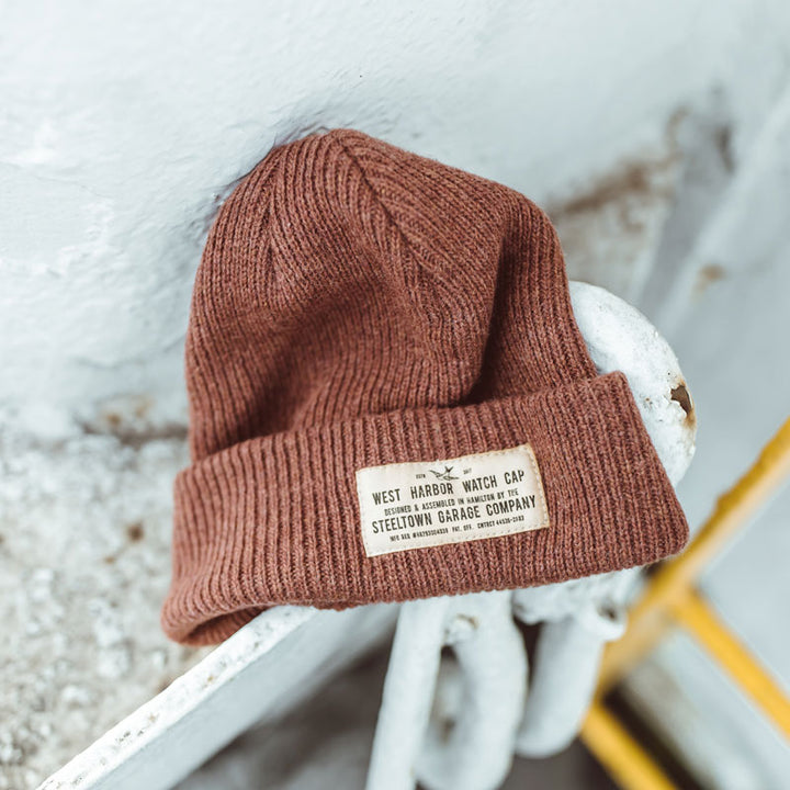 Merino Wool Watch Cap - Rust