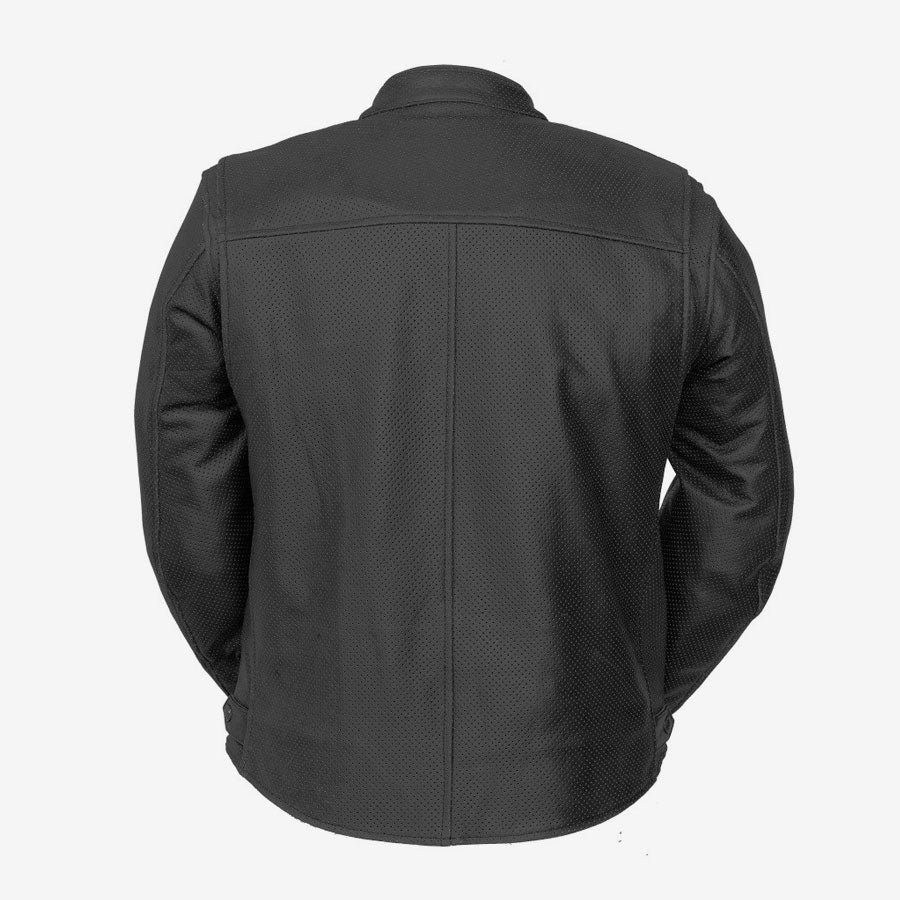 Deuce Perforated Black Leather Moto Jacket