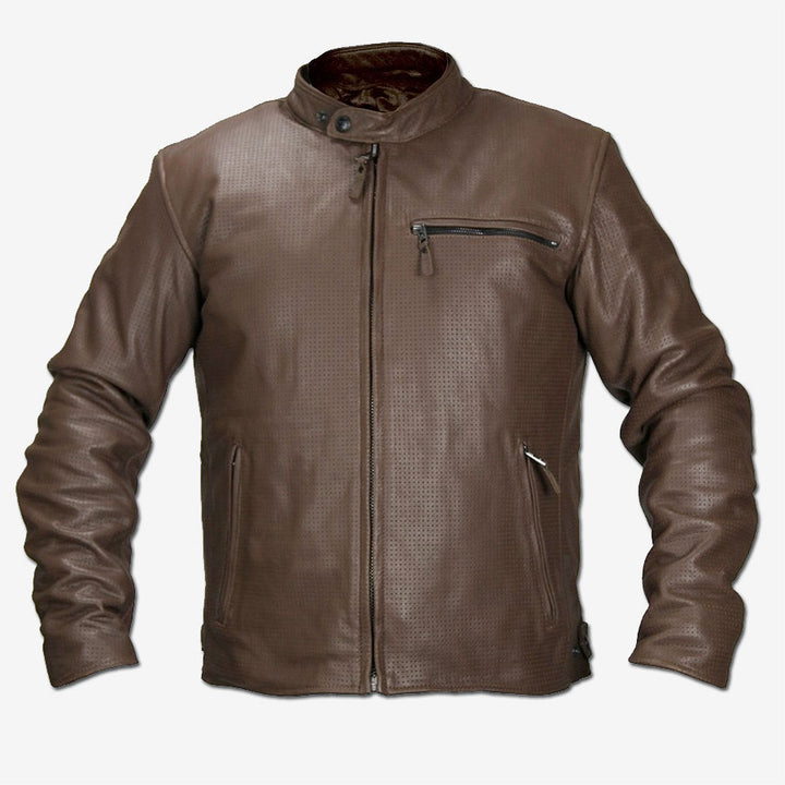 Deuce Perforated Brown Leather Moto Jacket