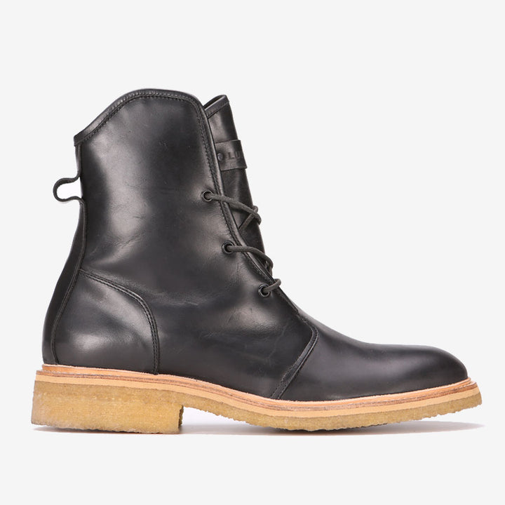 Francesco Black Leather & Crepe Boots - Luigi Sardo