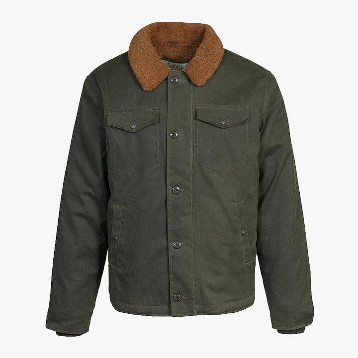 Schott Waxed Cotton Deck Jacket - Dark Olive