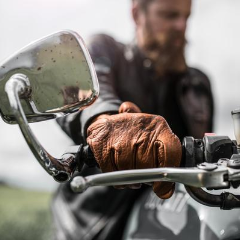 Brown Leather Scoundrel Motorcycle Gloves - Grifter