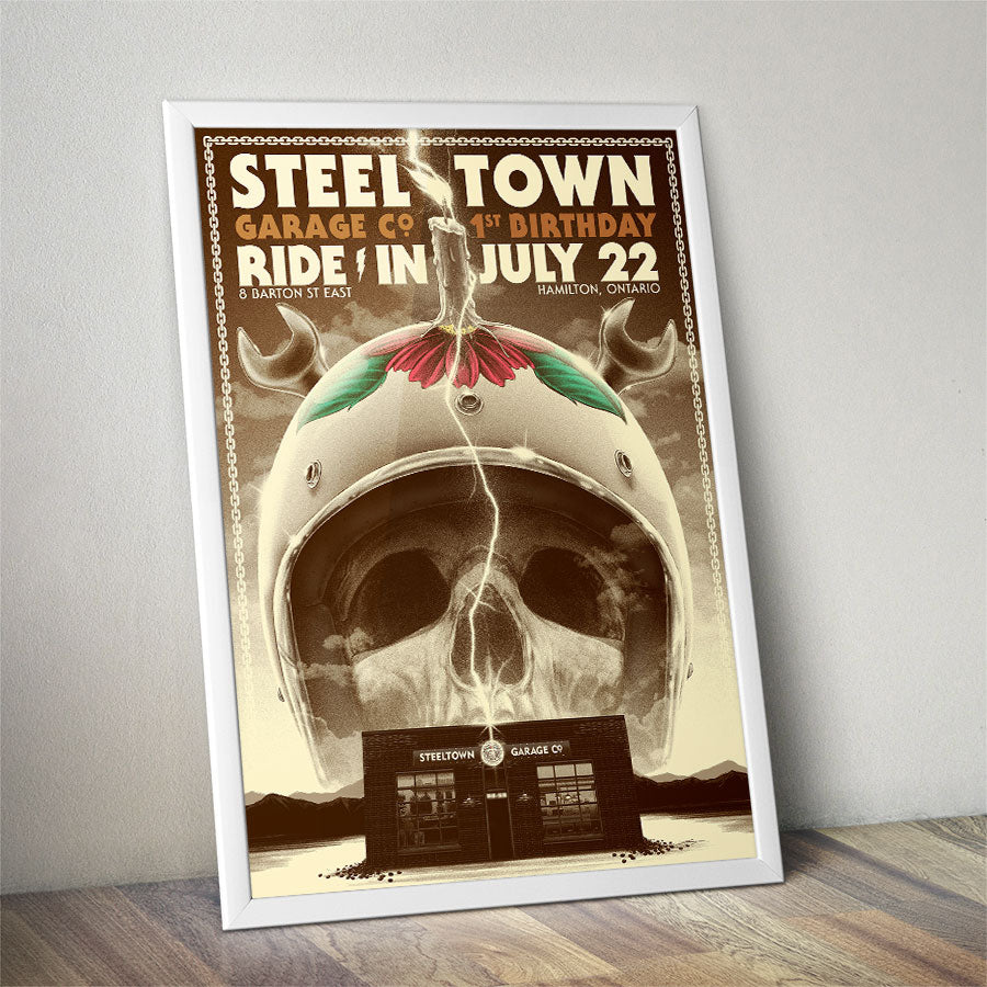 Steeltown Garage Co. One Year Retro Gig Poster 24 x36
