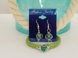 "Boceans Sea Glass Shades ""Green"" Earring & Bracelet ~ BSGS02ER SET - Boceans of Cape Cod"