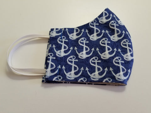 Protective Face Mask - Navy Blue With Large Anchors - Boceans of Cape Cod