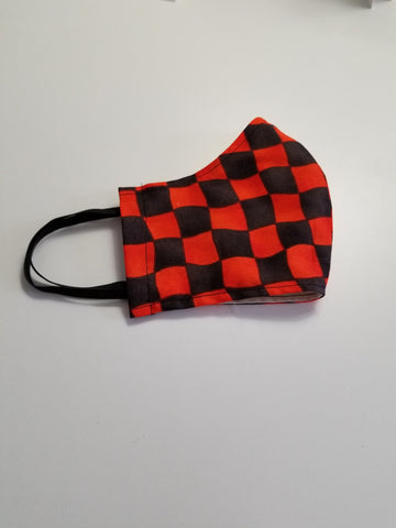 Protective Face Mask - Black & Orange Large Checker. - Boceans of Cape Cod