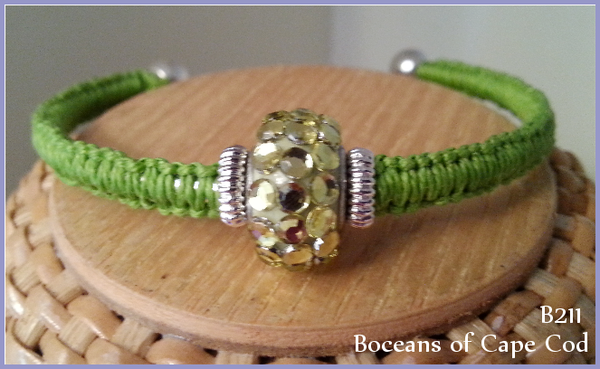 Bocean's Green Glitter Ball End Bangle ~ B211 - Boceans of Cape Cod