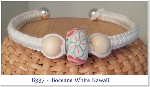 Bocean's White Kawaii Cuff Bangle ~ B337 - Boceans of Cape Cod