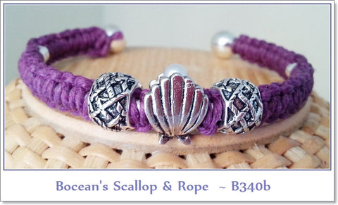 Bocean's Scallop and Rope Cuff Bracelet~ No. B340b - Boceans of Cape Cod