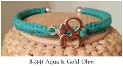 Aqua Hemp, Gold & Silver Ohm Bangle ~ B341 CLEARANCE PRICED - Boceans of Cape Cod